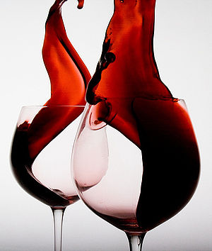 Artistic view of two glasses of wine