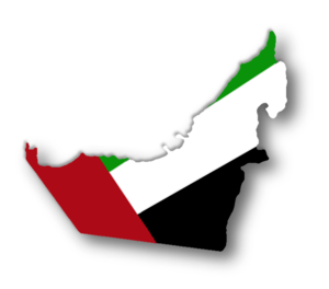 Drawing of the United Arab Emirates flag in th...