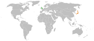 Map indicating locations of United Kingdom and...