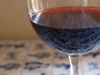 A glass of the Italian wine Barolo made from t...